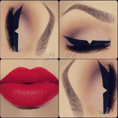 Graphic winged liner with red lips