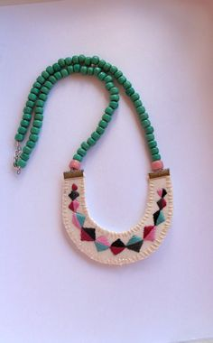 Embroidered geometric beaded necklace for Fall textile jewelry