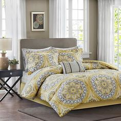 Madison Park Serenity Cal King 9-Piece Complete Bed and Sheet Set - Yellow