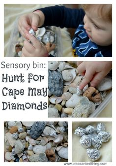 "Seashell sensory bin and hunt for foil ""diamonds"""