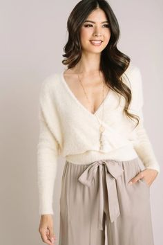 Shop the Gemma Fuzzy Surplice Sweater Top - boutique clothing featuring fresh, feminine and affordable styles. Flowy Pants, Wide Leg Cropped Pants, Affordable Fashion, Boutique Clothing, Off Shoulder Blouse, Your Hair, Mini Skirts, Girly, Feminine