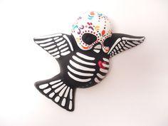 Dia de los Muertos clay Sparrow, handpainted by SacredArtDesigns