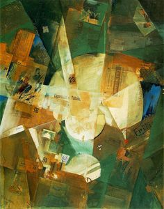 Merz with Light Centre (1919). Kurt Schwitters (1887-1948)  was a German painter who was born in Hanover, Germany. Schwitters worked in several genres and media, including Dada, Constructivism, Surrealism, poetry, sound, painting, sculpture, graphic design, typography, and what came to be known as installation art. He is most famous for his collages, called Merz Pictures.,