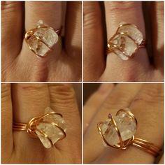 """Herkimer """"diamond"""" quartz in a copper wire ring, size 7."""