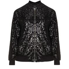 Manon Baptiste Black Plus Size Sequin bomber jacket ($210) ❤ liked on Polyvore featuring outerwear, jackets, black, plus size, sparkly jacket, sequin bomber jacket, sequin jacket, lined bomber jacket and mandarin collar jacket