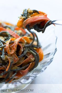 Squid Ink Pasta with Carrot in a Ginger  Orange Pepper and Lemon Butter