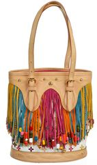 Louis Vuiitton White Multicolor Limited Edition Petite Bucket Handbag