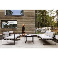 Sensum Hasseludden lounge furniture set - All About Balcony Scandinavian Outdoor Furniture, Outdoor Living Furniture, Patio Furniture Sets, Garden Furniture, Furniture Design, Furniture Outlet, Bauhaus, Outdoor Lounge, Outdoor Spaces