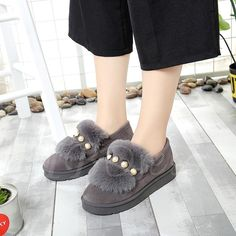 #BFCM #CyberMonday #TBDress - #TBDress Flat With Beads Platform Plush Womens Winter Shoes - AdoreWe.com