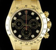 Rolex Cosmograph Daytona Gents 18k Yellow Gold Black Diamond Dial B&P 116528