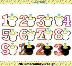 Mickey Mouse Birthday Applique Design Set Number