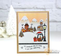 Lawn Fawn Here We Go A-Waddling, Lawn Fawn Winter Village, Lawn Fawn Stitched Mountain Borders