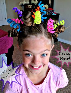 16 of The Most Eye-Popping 'Crazy Hair Day' Updos Ever The bendy shape and bright colors of pipe cleaners make them the perfect hair accessory for a wacky style. Crazy Hair Day Girls, Crazy Hair For Kids, Crazy Hair Day At School, Days For Girls, Crazy Hat Day, Crazy Hair Day For Teachers, Kids Girls, Candy Girls, Little Girl Hairstyles