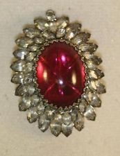 VINTAGE HOBE' SIGNED RUBY CABOCHON CLEAR NAVETTE BROOCH/PENDANT *RARE FIND*