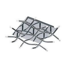 JESCO CTC505-12CH 12 Light Aire Flush Mount Ceiling Light, Chrome - The contemporary Aire collection features highly reflective waves of matchsticks composed in an exquisite criss-cross arrangement.    Built-in electronic transformer