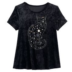 Girls 7-16 & Plus Size Mudd® Foil Print Velvet Swing Tee, Size: 12 1/2, Black