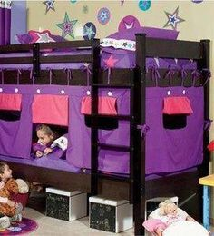 New Bunk Bed Tent & Canopy for Boys and Girls / 4 Models to Choose From. great way to give kids privacy when they share a room! Bunk Bed Tent, Kids Bunk Beds, Canopy Tent, Girls Bedroom, Bedroom Decor, Bedroom Ideas, Bedrooms, Contemporary Bed Linen, Camping Table
