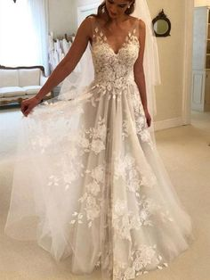 Western Wedding Dresses, Elegant Wedding Gowns, Lace Weddings, Dream Wedding Dresses, Floral Wedding Dresses, Popular Wedding Dresses, Weddings At The Beach, Sleeveless Wedding Dresses, Different Wedding Dress Styles