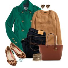 Peacoat and Flats, created by amy-phelps on Polyvore