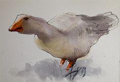 Serie sur le thème des animaux. Oiseaux, lapins, oie, poules etc ... Watercolor paintings | aquarelle Pierre Renollet