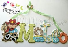 Painted Letters, Wood Letters, Hand Painted, Decorated Letters, Arte Country, Country Crafts, Hospital Door Decorations, Little Boys Rooms, Hand Lettering Alphabet