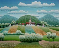 My Village, 1979 - Croatian Arist, Ivan Rabuzin Art Beat, Henri Rousseau, Landscape Art, Landscape Paintings, Oil Paintings, Ivan Rabuzin, Garden Illustration, Georges Braque, Naive Art