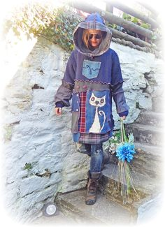 Recycled Jumper Quirky Cat Hooded Long Sweater Blue Cashmere Cosy Lambswool Unique Upcycled Eco Friendly Clothing Wearable Art Size: X-Large
