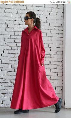 SALE Oversize Shirt Dress/Pink Maxi Dress/Long Loose
