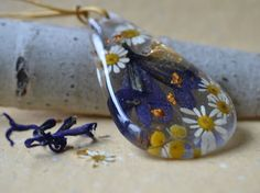 Resin necklace, Resin pendant with Spring flowers and gold leaf, Floral jewelry