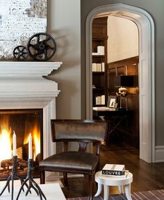 Wall color is perfect, some crea/white & so like this leather chair~would like a touch of charcoal.  #wainscoting, AccentHaus.com