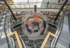 Interior of a massive shopping mall in Krakow. Poland. Gallery Krakowska.