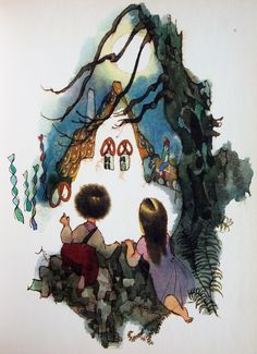 "Colored pen and ink illustration by Jiří Trnka, published in 1982 ""La chaumiere en pain d'epice"" Hans Christian, Ink Illustrations, Children's Book Illustration, Illustration Children, Grimm, Hansel Y Gretel, Winter Fairy, Fantasy Paintings, Animation Film"