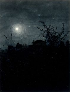 Moonlight Scene by Léon Bonvin (Note: Leon Bonvin, was a largely self-taught French watercolorist whose work was distinctive in looking almost like a photograph. Nocturne, Moonlight Painting, Parcs, Moon Art, Landscape Paintings, Sky Landscape, Painting & Drawing, Art Museum, Illustration Art