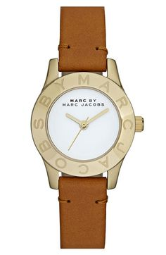 Marc Jacobs 'Small Blade' Leather Strap Watch