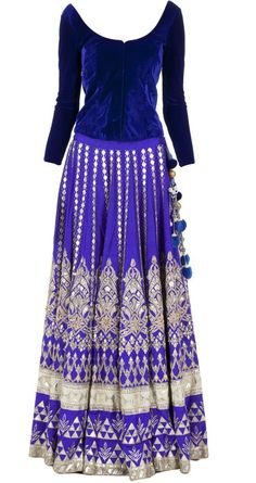 blue and silver Indian wedding dress