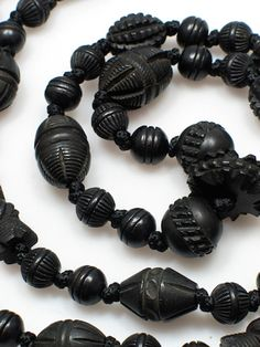 Victorian Whitby jet mourning necklaces. Each bead is hand-carved and so subtly different, although variations are hard to discern without a magnifying glass. Photo Christopher Proudlove