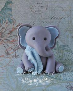 Baby Boy Elephant w/ Blanket Cake Topper. by SweetLittleMorsels