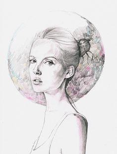 Woman drawn in pencils, stunning...