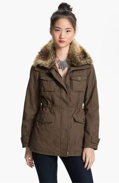 Sashimi Faux Fur Collar Utility Anorak (Juniors) | Nordstrom