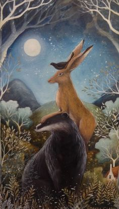 The Badger, the Hare and the Blackbird - Original acrylic painting by Amanda Clark Art And Illustration, Badger Illustration, Illustrations, Fantasy Kunst, Fantasy Art, Clark Art, Rabbit Art, Bunny Art, Wow Art