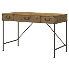 Rustic Industrial 48 Inch Writing Desk with 3 Drawers in Golden Pine Finish - Includes Modhaus Living Pen