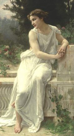 young woman of pompeii on a terrace, guillaume seignac