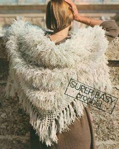 1970s crochet shawl pattern (faux fur)
