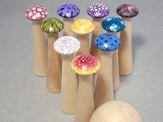 Mushroom Bowling Game - Natural Wood Waldorf Toy #Waldorf #Toys #Kids