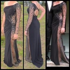 Black/Sheer Gown Beautiful black gown with a sheer side with stones scattered throughout. Worn only one time. Size 4. Night Moves Dresses One Shoulder
