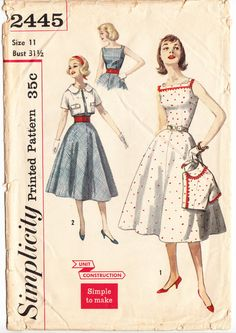 Vintage 1957 Simplicity 2445 Sewing Pattern Junior and Misses' Dress and Jacket Size 11 Bust 31-1/2