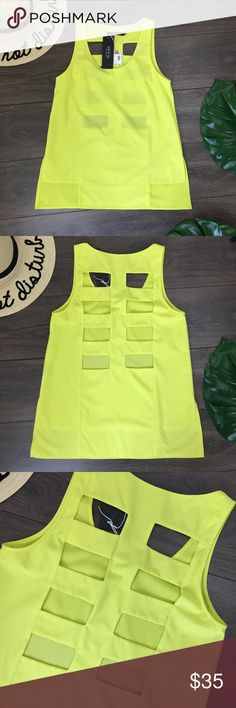 """ARK&CO NEON YELLOW SKELETON BACK TANK SIZE SMALL ARK&CO NEON YELLOW SKELETON BACK TANK SIZE SMALL New with tags Approximate measurements  Bust 34"""" Front length 23"""" Back length 27"""" A7 Ark & Co Tops Blouses"""