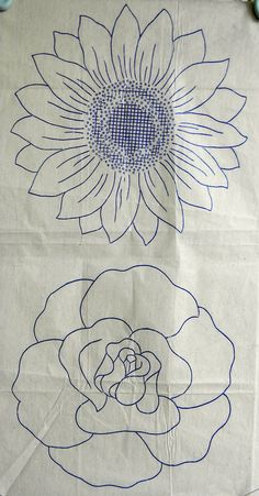 VINTAGE EMBROIDERY TRANSFER - 2 LARGE FLOWER HEADS -ROSE SUNFLOWER