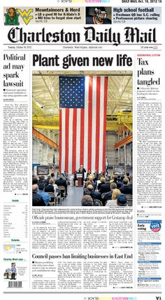 The ribbon-cutting ceremony of South Charleston's revitalized stamping plant is front page news for Tuesday. Auto parts manufacturer Gestamp will supply automakers worldwide and promises to hire 400 workers at its MacCorkle Avenue works.