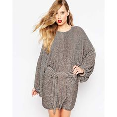 ASOS RED CARPET Oversized Kaftan Mini Dress In Sequin ($323) ❤ liked on Polyvore featuring dresses, silver, caftan dress, short sequin cocktail dresses, asos dresses, brown dress and tall dresses